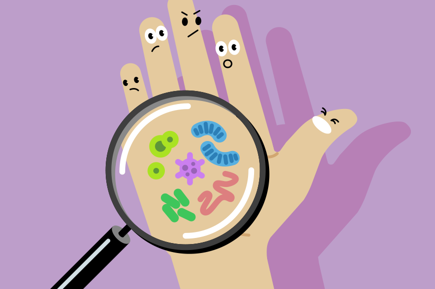 Hand illustration with angry fingers looking at viruses on their palm through a magnifying glass